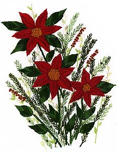 Christmas Morning Poinsettia Brazilian Dimensional Embroidery Pattern at jdr-be.com