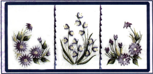 Three Flower Sampler- Brazilian dimensional embroidery pattern