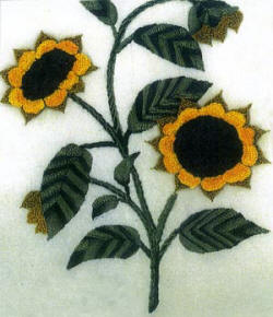 Sunflowers Brazilian Embroidery Pattern by Anna Grist  found at jdr-be.com