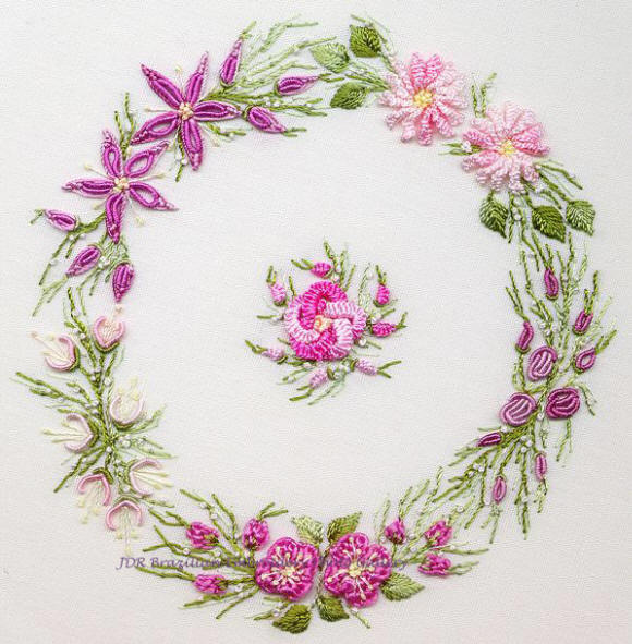 Brazilian Embroidery Design Spring Wreath ED 1031