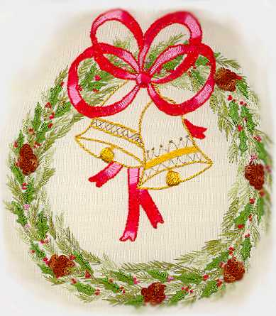 Christmas Wreath With Bells - Brazilian dimensional embroidery pattern