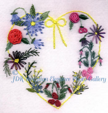 Brazilian Embroidery Heart with Lots of Daisies and Roses