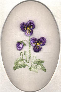 Brazilian Embroidery Pattern Rosalie's Pansies