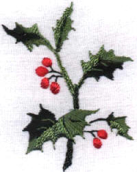 Brazilian Embroidery Design JDR 188 Holly & Berries