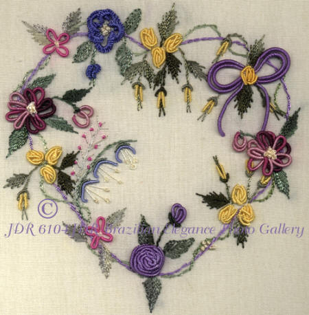 Brazilian Embroidery Heart with Vine of Flowers