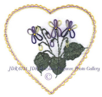 Brazilian Embroidery Heart of Violets - JDR 6111