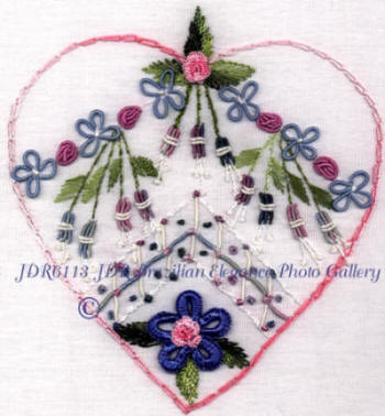 Brazilian Embroidery Hearts and Flowers Design JDR 6113 Leona's Heart
