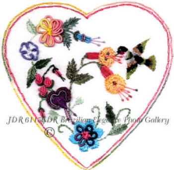 Brazilian Embroidery Hearts and Flowers Designs JDR 6115 Beverley's Heart