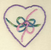 Bow Heart Brazilian Embroidery Pattern
