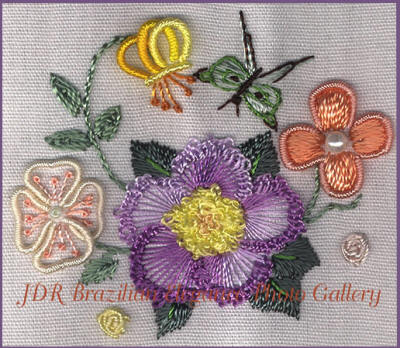 Brazilian Embroidery Sampler Block 1