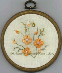 Peachy the Peach Blossom Brazilian Embroidery Design