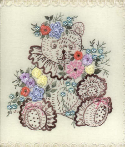 Brazilian Embroidery Pattern Teddy Bear for Jayne