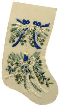 Brazilian Embroidery Pattern Blue Christmas (Stocking) JDR 6045