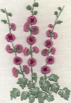 Brazilian Embroidery Design: Holly Hocks