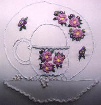 Tea Time Cup and Saucer Brazilian Dimensional Embroidery pattern