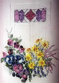 Window Box with Stain Glass Window Brazilian Dimensional Embroidery pattern