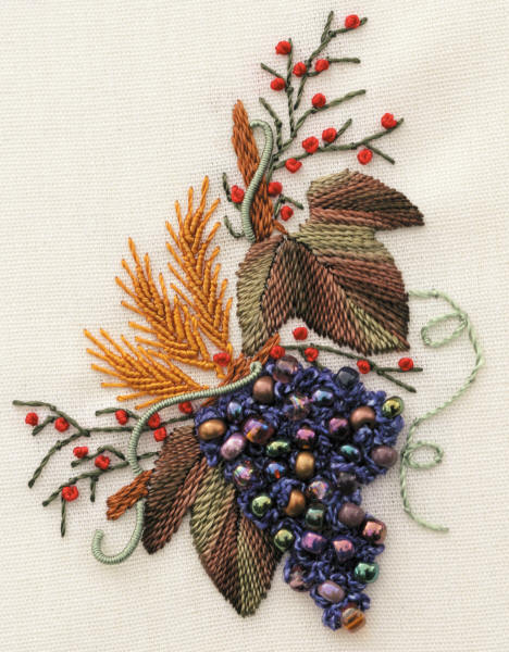 Grapes & Wheat Brazilian Dimensional Embroidery design: fabric, beads, instructions